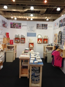 "Happenstance Creations display at the NYNOW market in booth ""Lost & Found"" #7656."